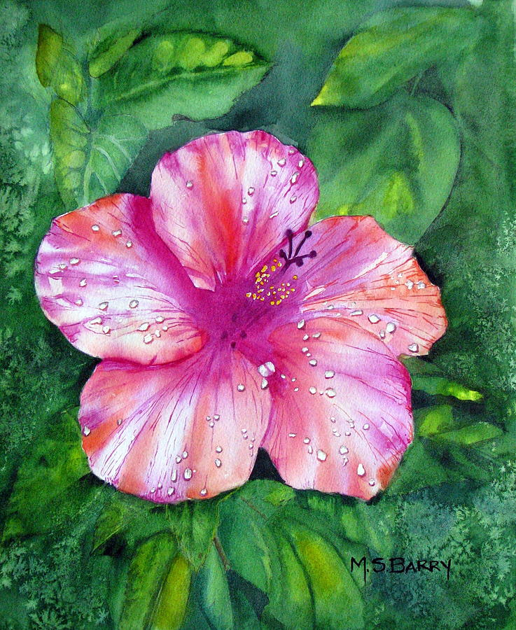 Pink Flower Painting - Hibiscus by Maria Barry