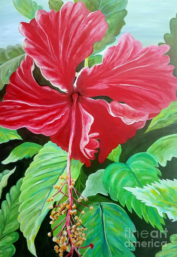 Flower Painting - Hibiscus by Rachel Reshef