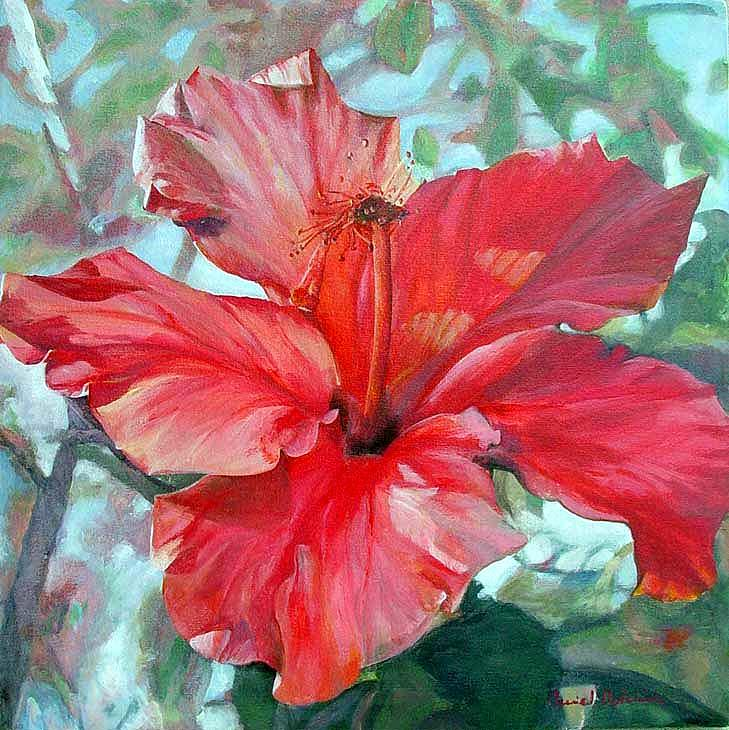 Flower Painting - Hibiscus rouge by Muriel Dolemieux