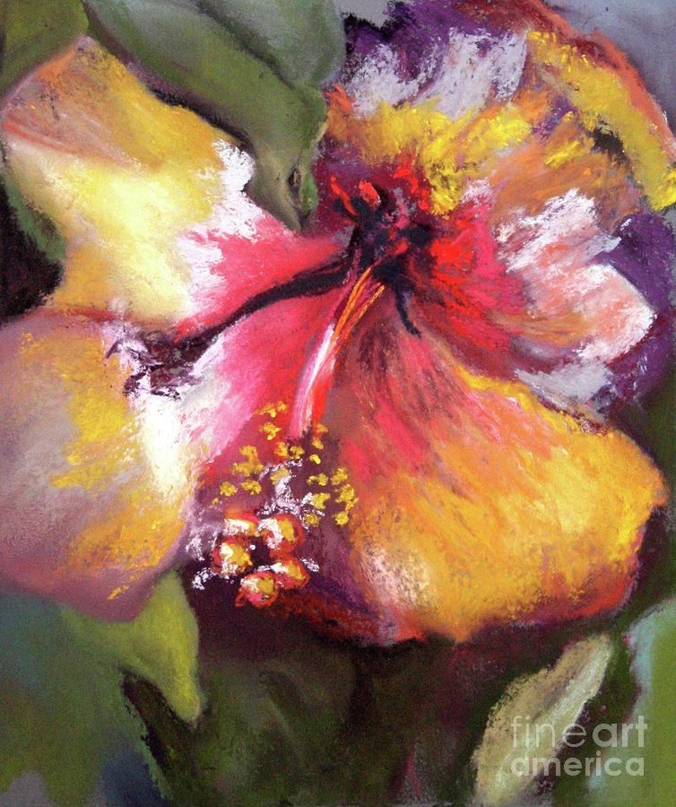 Nature Painting - Hibiscus Yellow Glow 11 by Cheryl Yellowhawk