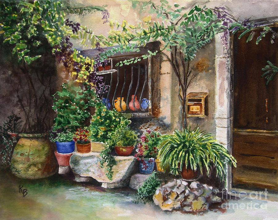 Courtyard Painting - Hidden Courtyard by Karen Fleschler