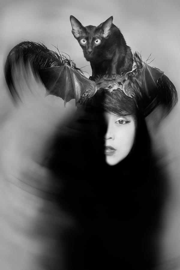 Black And White Photograph - Hidden Half by Mayumi Yoshimaru