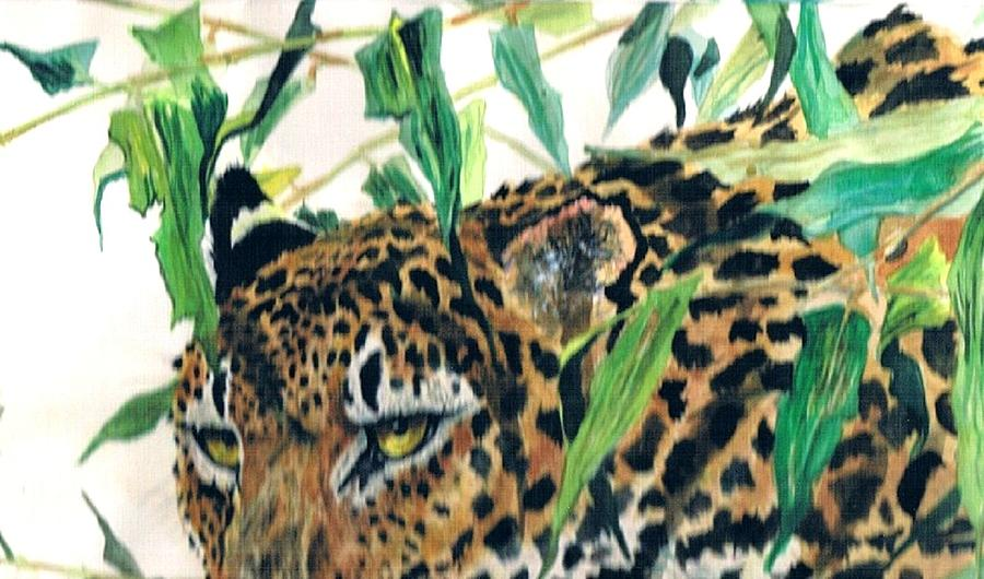Hidden Leopard Painting By Wayne Monninger