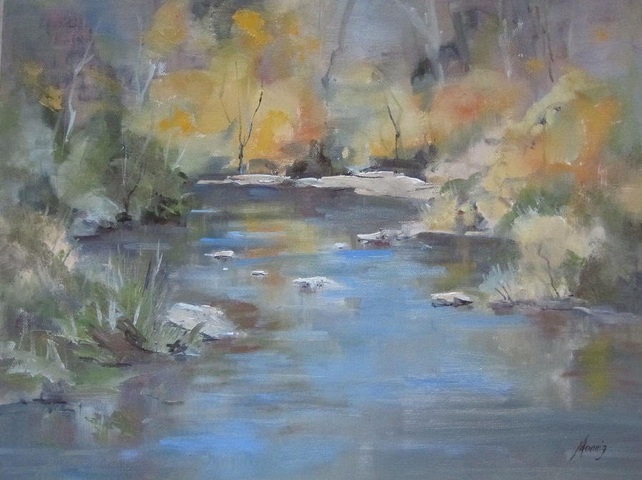 Impressionistic Landscape Painting - Hidden River by Elaine Monnig
