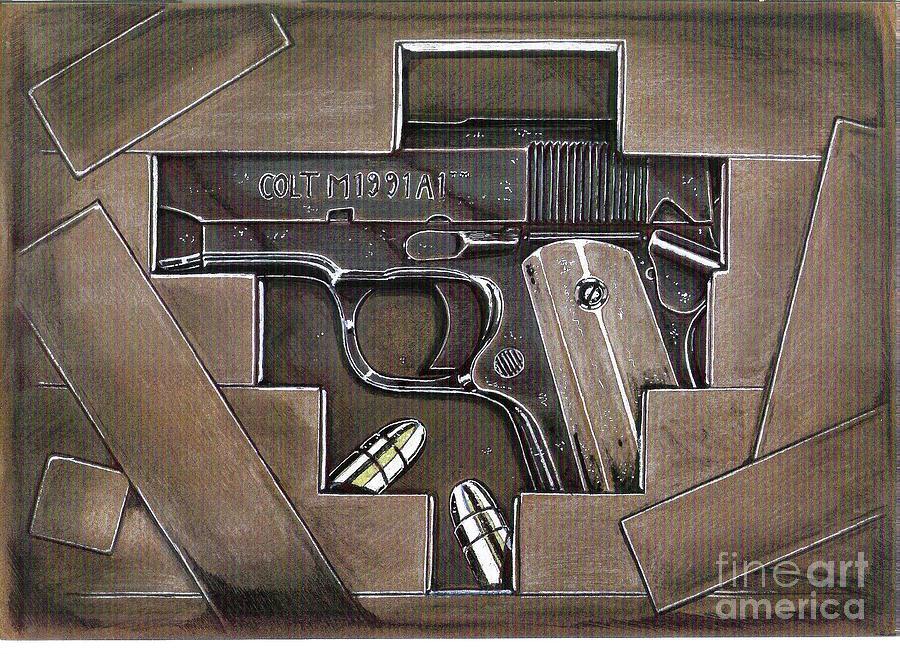Pistol Drawing - Hidden Treasure by Ricardo Reis