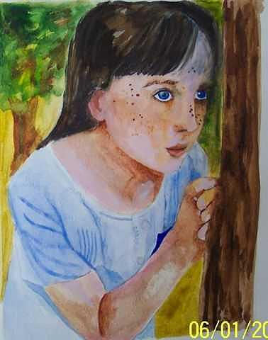 Child Painting - Hide And Seek Girl by Lori Tan