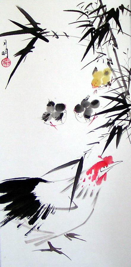 Chinese Painting Painting - Hide And Seek by Ming Yeung