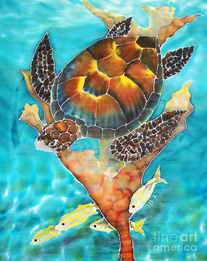 Hawksbill Turtle Painting - Hide And Seek by Tiff