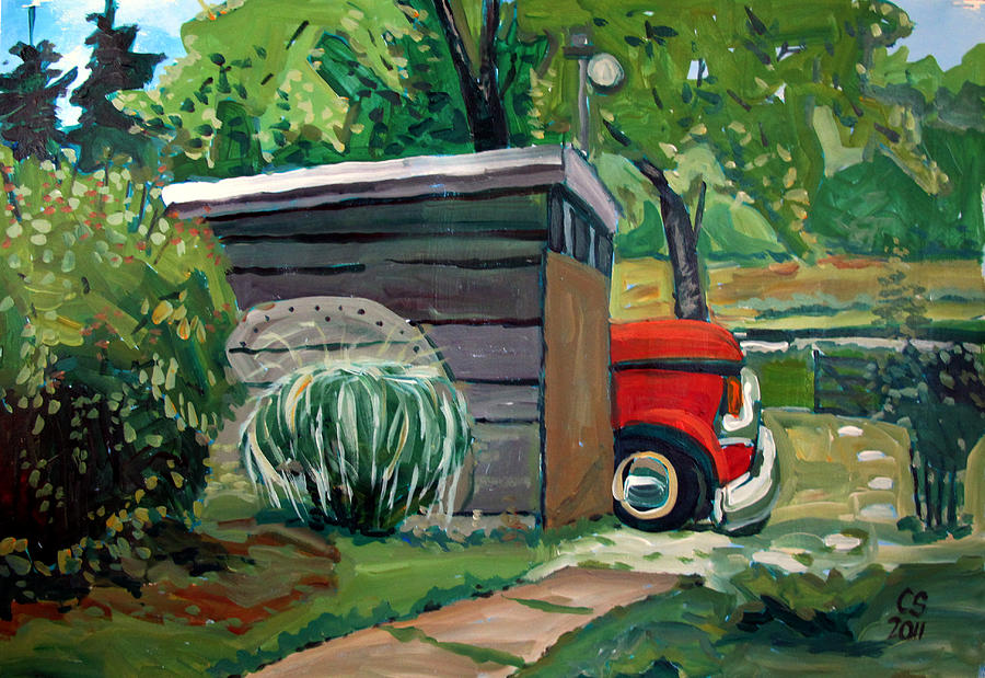 Ford Painting - Hiding From The Junkyard by Charlie Spear