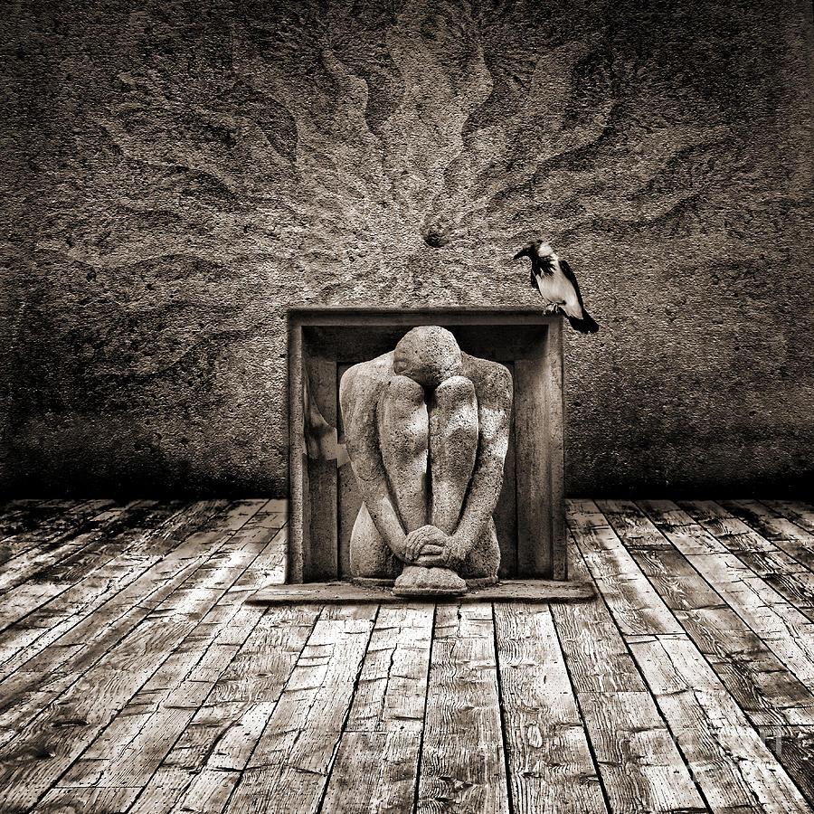 Dark Digital Art - Hiding by Jacky Gerritsen