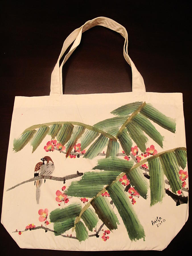 Tote Bag Painting - Hiding Under The Palm Tree by Anita Lau