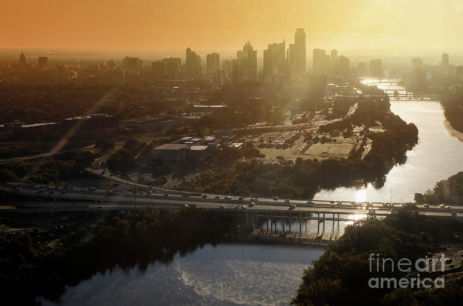 Aerial Images Photograph - High Angle Aerial View Of The Downtown Austin Skyline, Mopac Expressway During Morning Sunrise From A Helicopter by Herronstock Prints