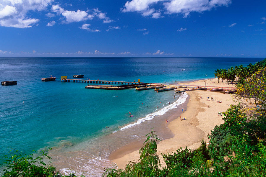 Aguadilla Photograph - High Angle View Of A Pier On Crashboat Beach Puerto Rico. by George Oze