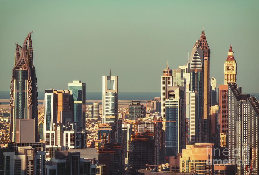 Dubai Photograph - High-angle View Of Dubais Towers At Sunset.  by Dmitrii Telegin