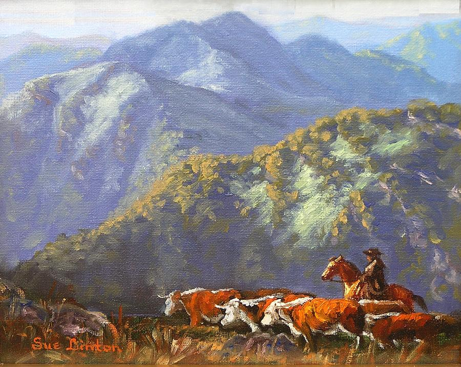 Cattle Painting - High Country Muster by Sue Linton