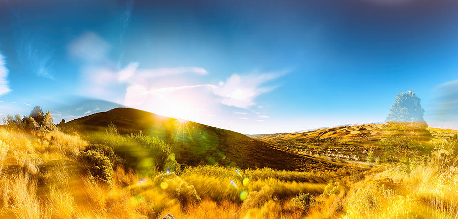 High Desert Autumn Sunset With Double Exposure, Warm Tones And Lens Flare Photograph