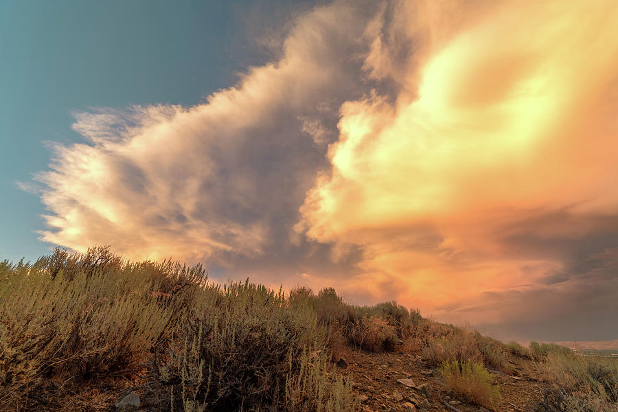 High Desert Cloud Detail At Sunset With Warm Summer Tones Photograph