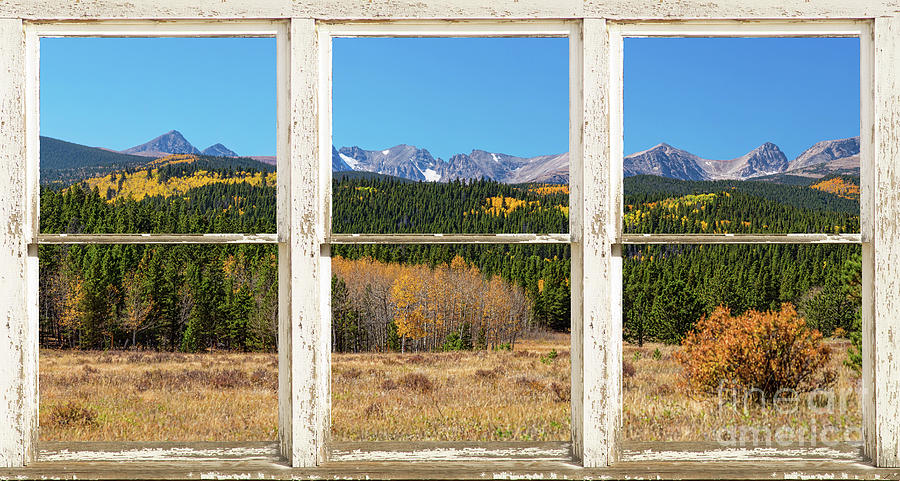 Windows Photograph - High Elevation Rocky Mountain Peaks White Rustic Panorama Window by James BO Insogna