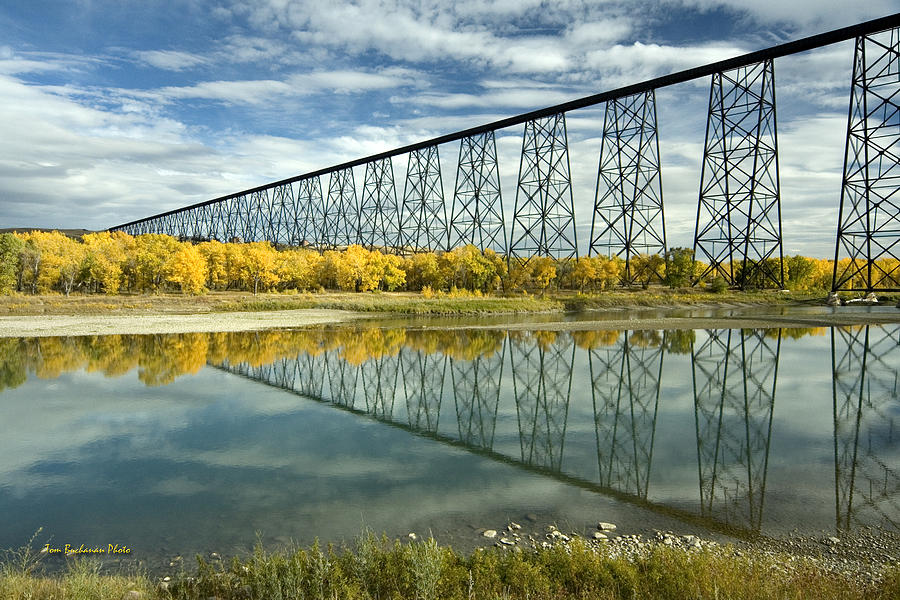 Old Man River Photograph - High Level Bridge In Lethbridge by Tom Buchanan