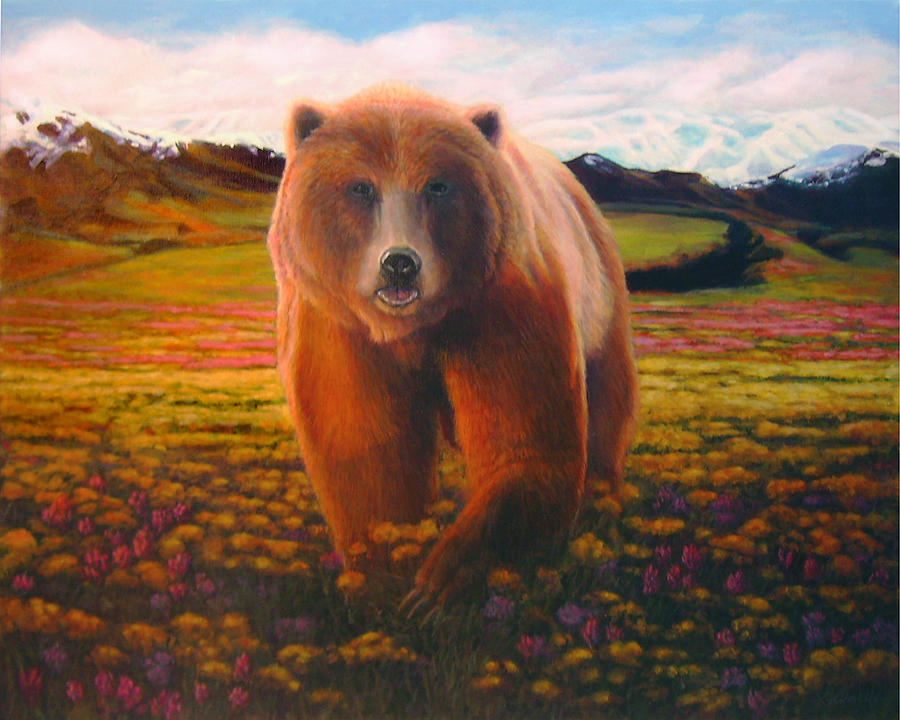 Grizzly Bear Painting - High Meadow Grizzly by Charles Wallis