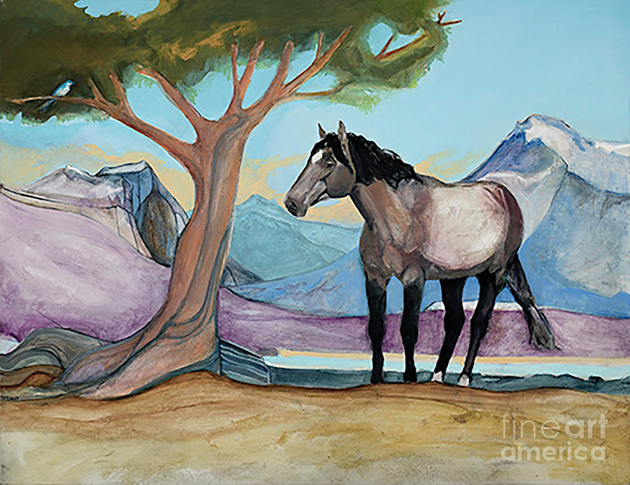 High Meadow Mustang Painting by Blair Denny