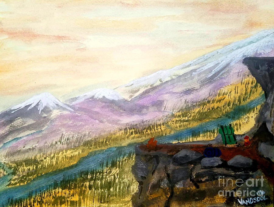 High Mountain Camping - Original Watercolor Painting by ...