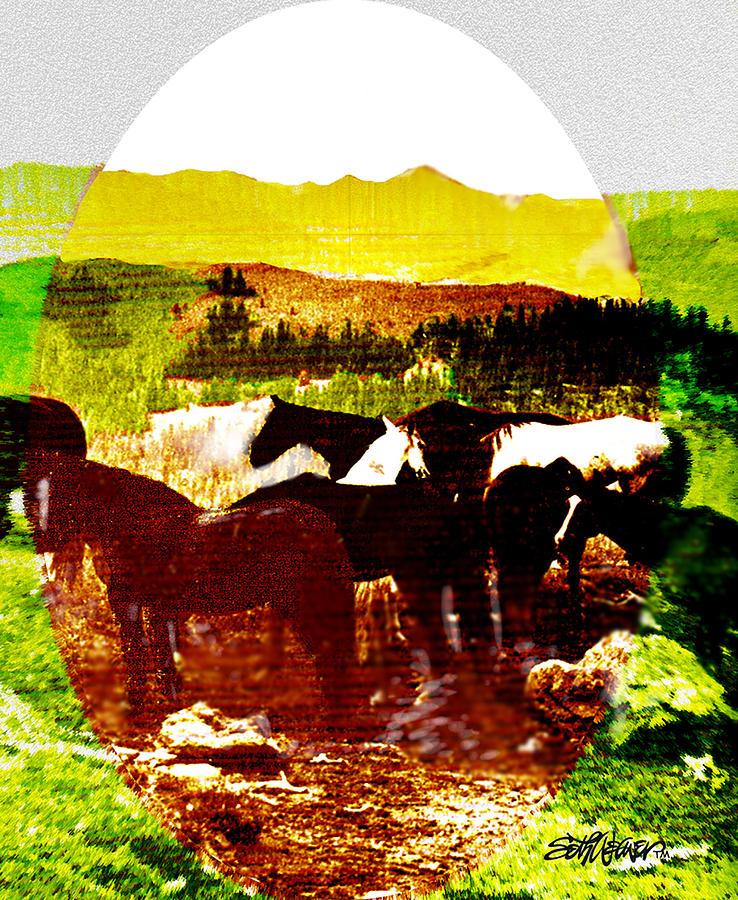 Mustangs Digital Art - High Plains Horses by Seth Weaver