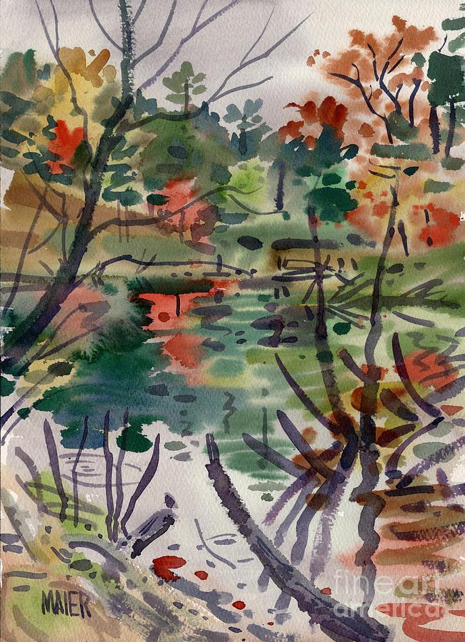 Autumn Foliage Painting - High Ridge Pond by Donald Maier