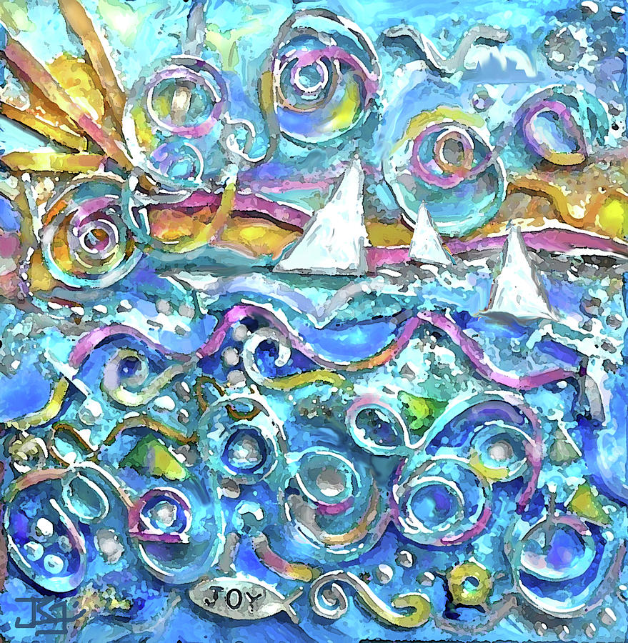 High Seas Wire Wall Sculpture Painting by Jean Batzell Fitzgerald