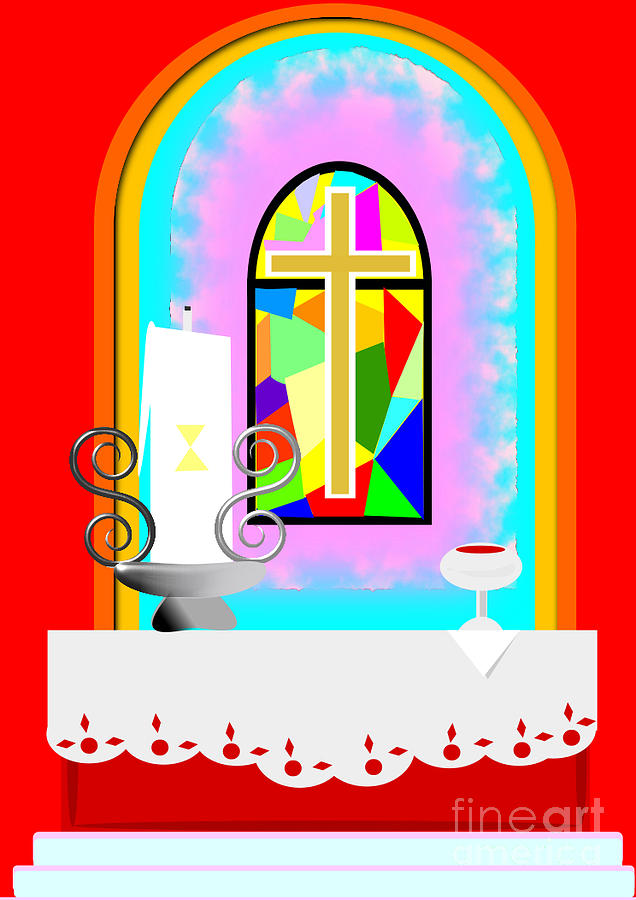 Altar Drawing - High Stained Glass by Jon Fennel