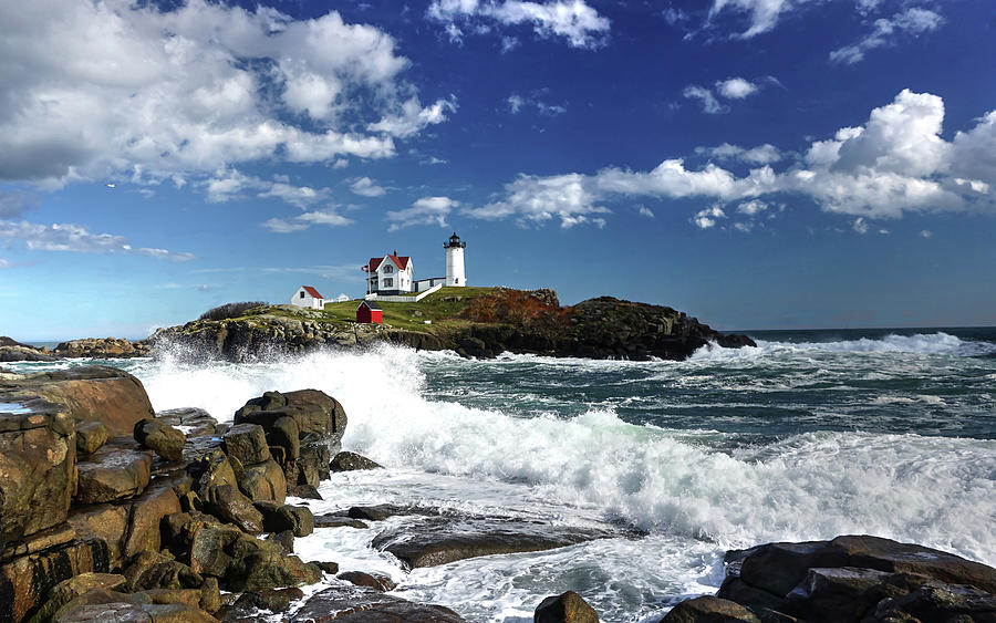 High Surf at Nubble Light by Wayne Marshall Chase