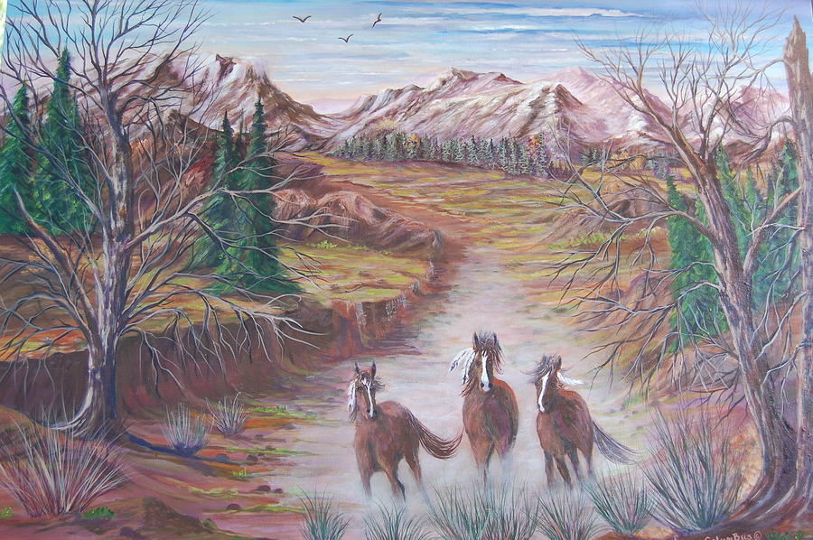 Indian Horses Painting - High Tailin It by Janna Columbus