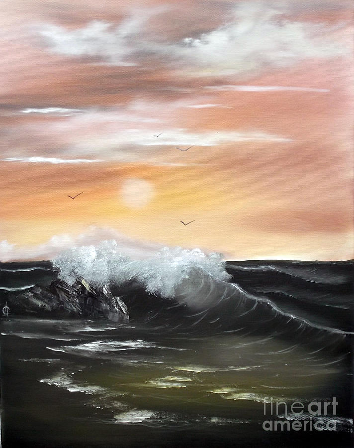 Seascape Painting - High Tide by Cynthia Adams