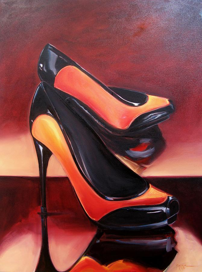 Shoes Painting - Highered Heels by Yvonne Dagger