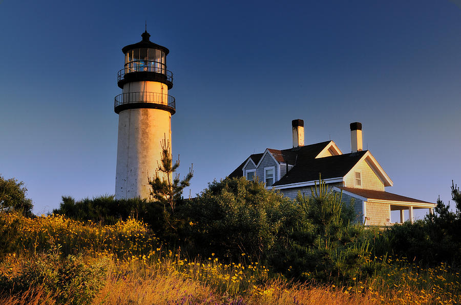 Truro Mass Photograph - Highland Beacon From The Bluffs by Thomas Schoeller