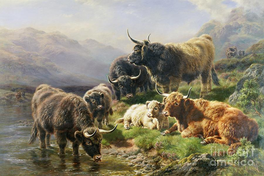 Highland Painting - Highland Cattle by William Watson