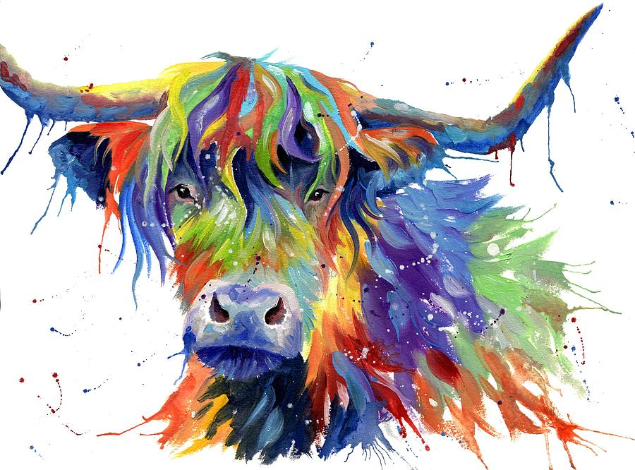Cow Painting - Highland Cow In Multicolor by Sarah Stribbling