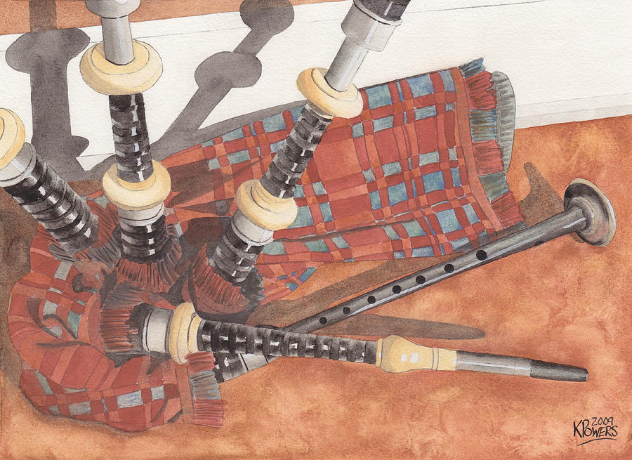 Great Painting - Highland Pipes II by Ken Powers