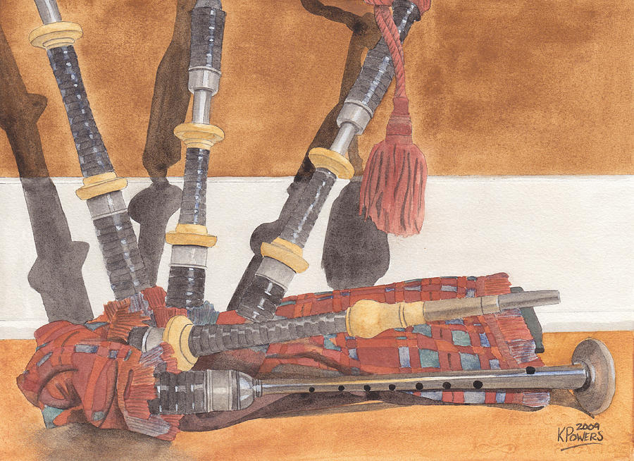 Great Painting - Highland Pipes by Ken Powers