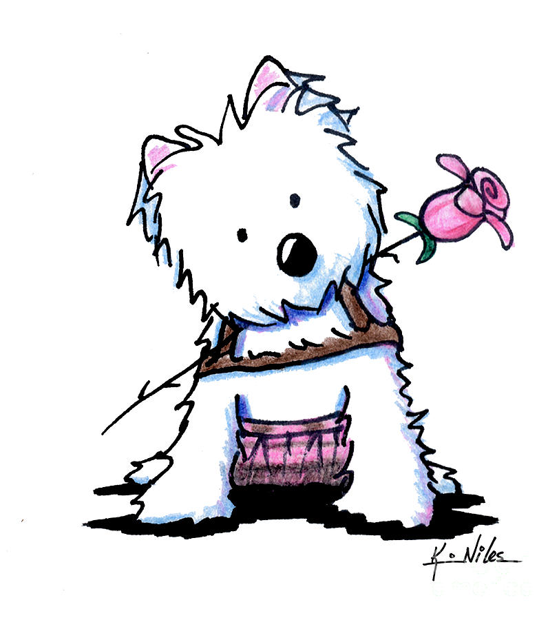 Westie Drawing - Highland Princess by Kim Niles