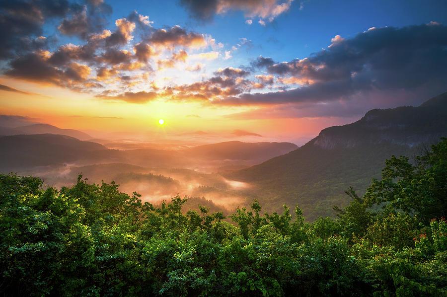 Highlands Sunrise - Whitesides Mountain In Highlands Nc Photograph