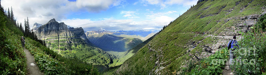 Glacier National Park Photograph - Highline Trail Overlooking Going To The Sun Road - Glacier National Park by Bruce Lemons