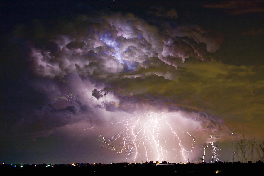 Colorado Lightning Photograph - Highway 52 Storm Cell - Two and half Minutes Lightning Strikes by James BO Insogna