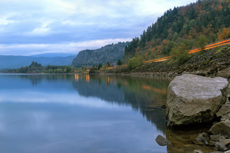 Columbia River Photograph - Highway Light Trails On Columbia River Gorge by David Gn