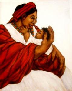 Mother And Child Painting - Hijo En Rebozo Rojo by Mary Louise Lopez