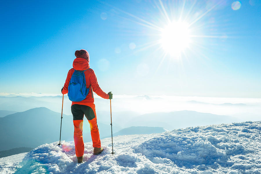 Hiker In The Winter Mountains Photograph