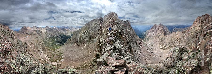 Colorado Photograph - Hiker On Mt Eolus Catwalk - Chicago Basin - Weminuche Wilderness - Colorado by Bruce Lemons
