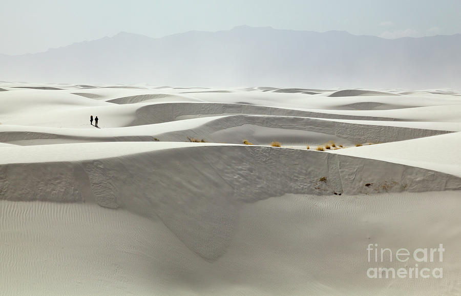 Hikers at White Sands Photograph by Yva Momatiuk and John Eastcott