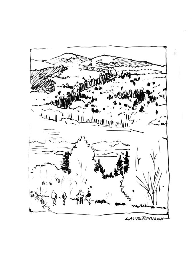Mountains Drawing - Hiking The Rockies by John Lautermilch
