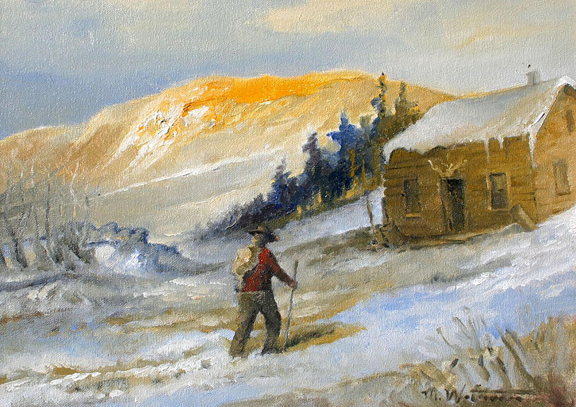 Mountains Painting - Hikking In by Michael Waterman